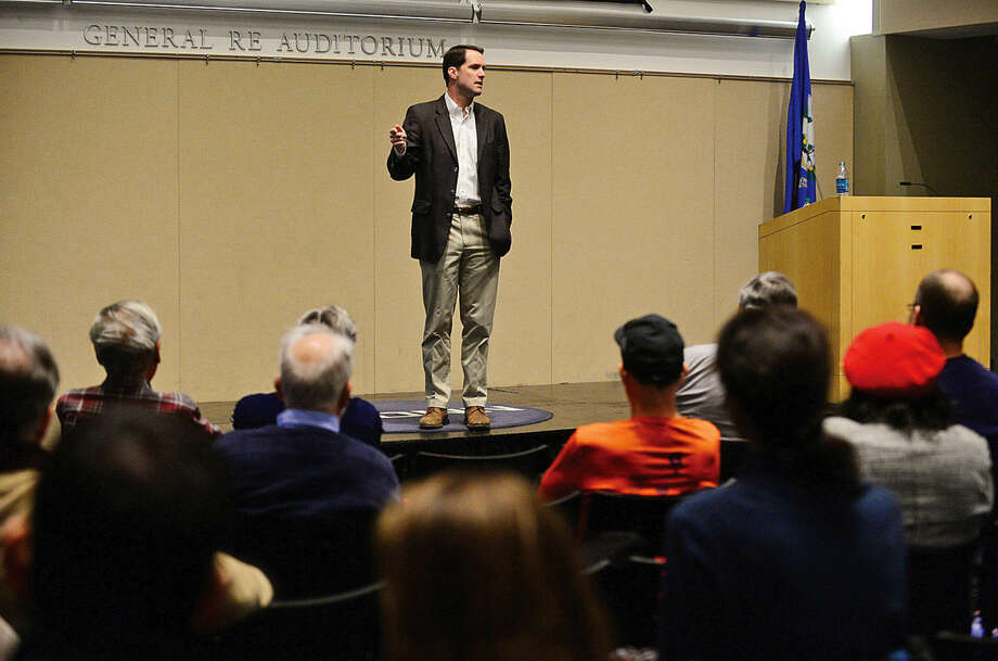 Congressman Jim Himes holds a town hall-style meeting at the University of Connecticut's Stamford campus Saturday afternoon.