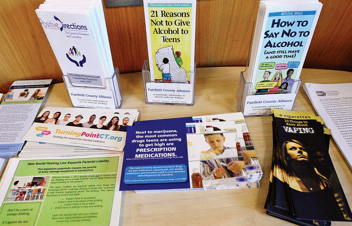 Hour photo / Erik Trautmann The presentation, Not My Kid: What's Really Happening with Marijuana, Binge Drinking, and E-Cigarettes in Wilton, was held at the Wilton Library Tuesday morning.