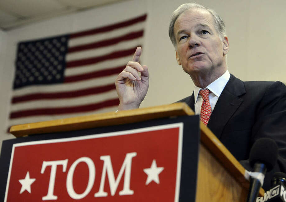 Tom Foley gestures during a news conference to announce he is running for governor, Wednesday, Jan. 29, 2014, in Waterbury, Conn. (AP Photo/Jessica Hill)