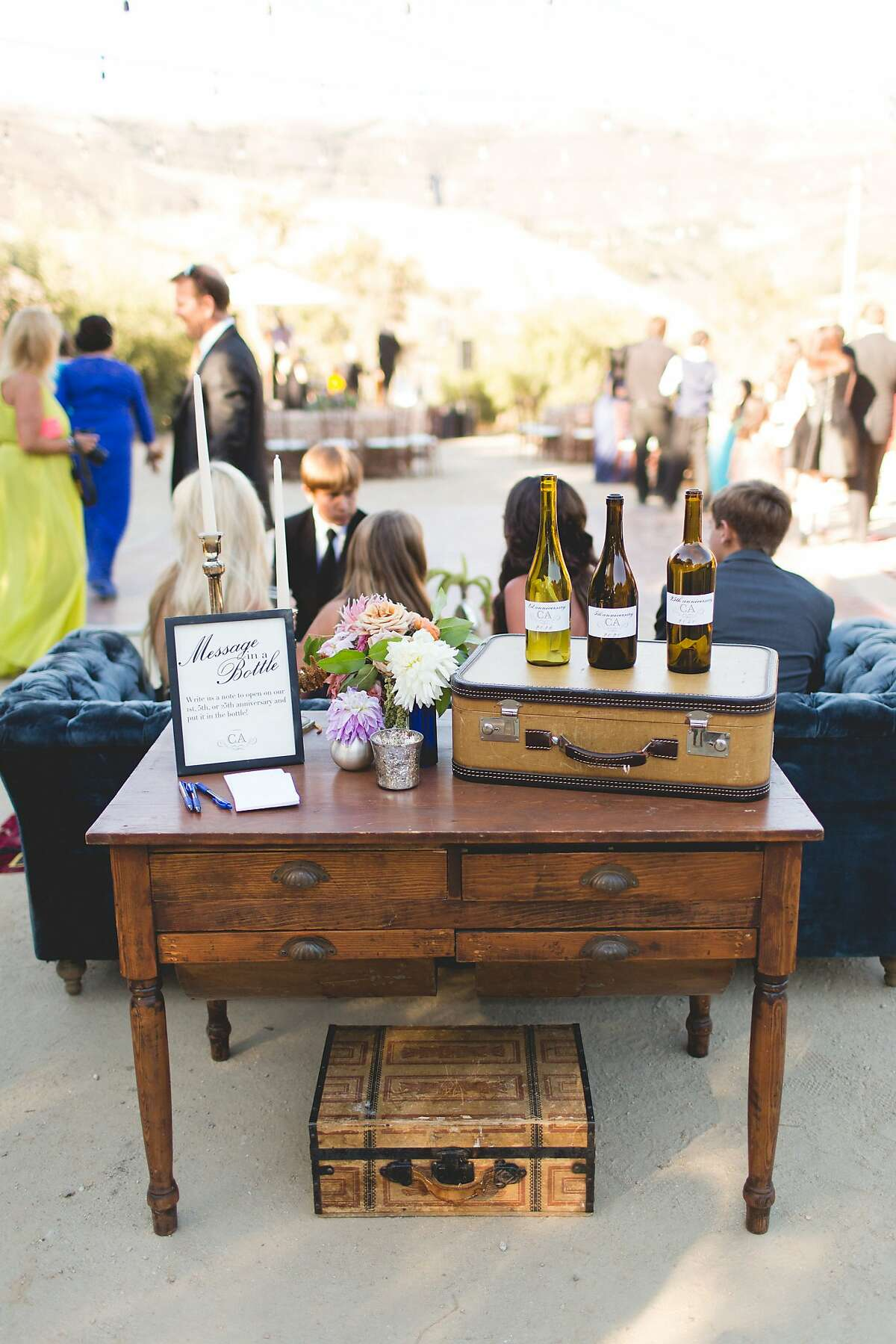 Decor brings a homey touch to the wedding of Alia Al-Sharif and Cameron McDonald at Hilltop Ranch estate at Cima Collina Winery in Carmel.