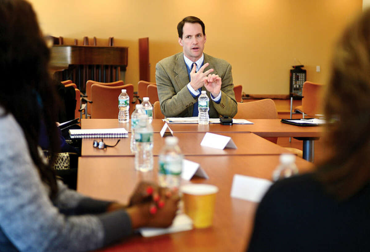 Congressman Jim Himes hosts a roundtable discussion on unemployment insurance and hears from out-of-work constituents on the importance of extending critical benefits at the Stamford Government Center Thursday.