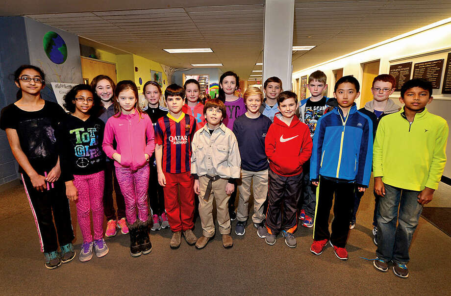 """Student contestants from Cider Mill School: Saavni Bathia, Avni Gupta, Clarissa Greis, Lucia LaOrden, Anna Joy, Jack Michael, Katie May, Lukas Koutsoukos, Alexa Steckel, Charlie Johnson, Griffin Turner, James Ring, Nathan Downs, Joshua Zheng, Henry Purcell and Vihan Jayawardhane, are competing in """"Are You Smarter Than a 5th Grader,"""" the annual fundraiser for the Wilton Education Foundation, scheduled for March 4 at 7 p.m. at Wilton High School's Clune Center."""