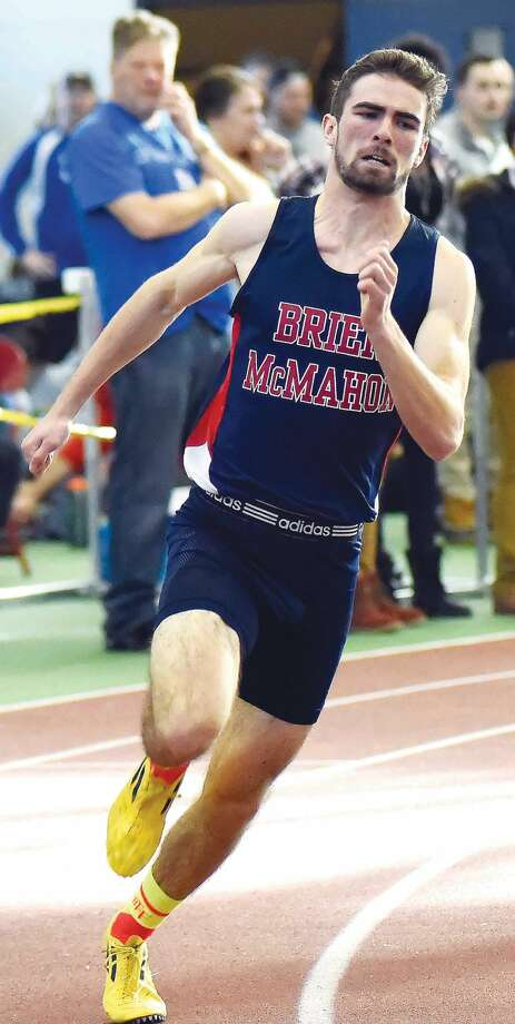 Brien McMahon's Daniel Linehan is finally healthy and has emerged as one of the state's best track runners. (Hour photo/John Nash)