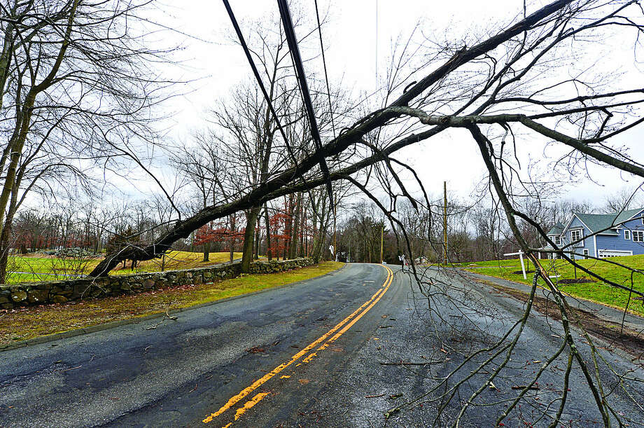 Hour photo / Erik Trautmann A late night storm brought down trees and wires closing several roads in Norwalk including Fillow St near The Oak HIlls Golf Course.