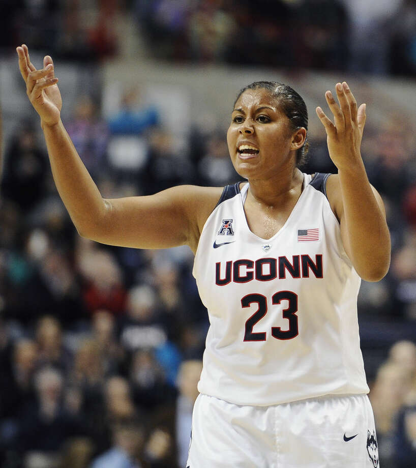 Connecticut's Kaleena Mosqueda-Lewis calls out to her team during the second half of an NCAA college basketball game against South Carolina, Monday, Feb. 9, 2015, in Storrs, Conn. UConn won 87-62. (AP Photo/Jessica Hill)