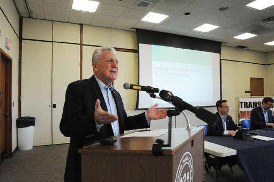 "Norwalk Mayor Harry Rilling at the town hall meeting at the Norwalk Library on Sunday called ""Fed Up"" on current transportation issues in the Connecticut area, specifically in the Southern Fairfield County area. Hour photo/Matthew Vinci"
