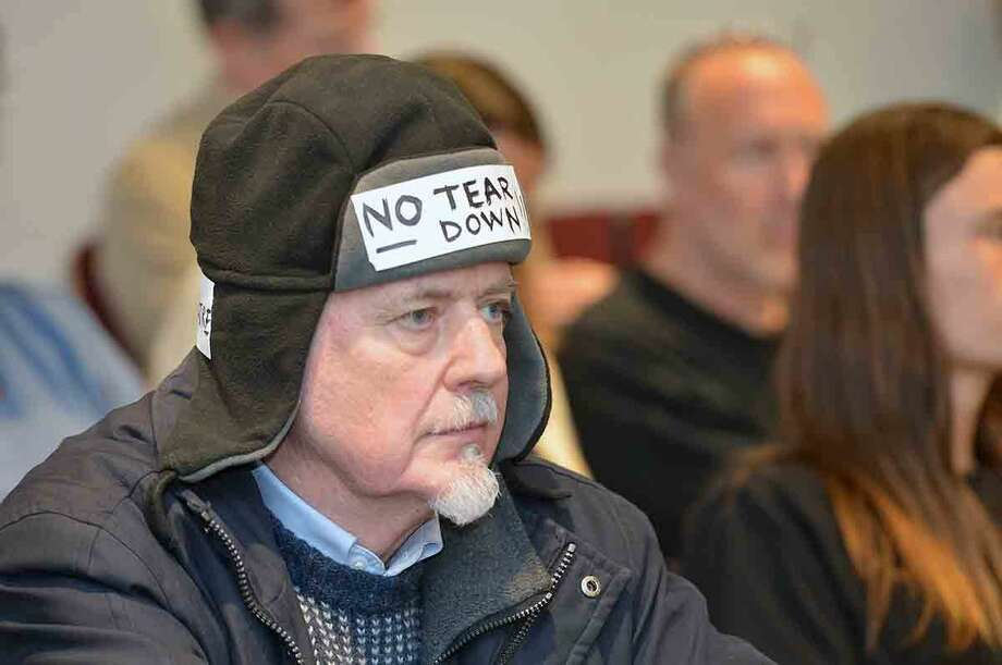 Hour Photo/Alex von Kleydorff Signs of support during the Norwalk Historical Commission Public Hearing on the future of The White Barn Theater