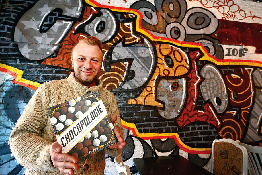 Hour photo / Erik Trautmann Owner of Chocopologie in SoNo, Fritz Knipschildt, has released chocolate recipe cookbook under the same name.