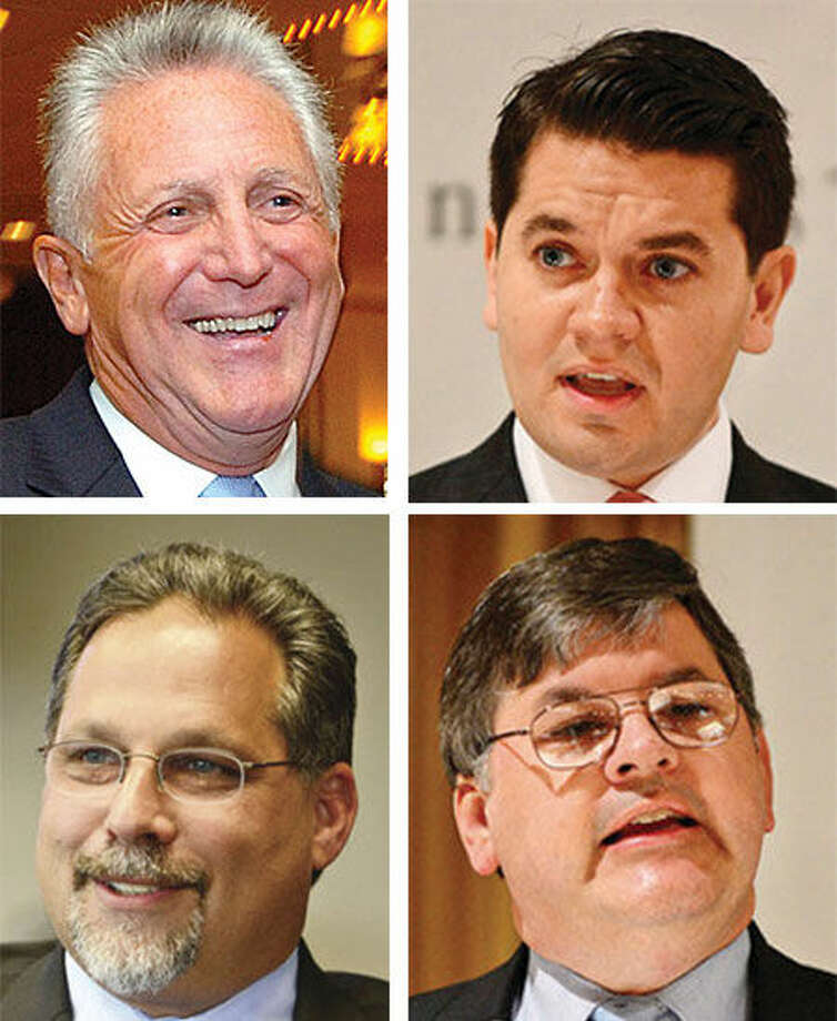 Harry W. Rilling (top left), defeated Vinny Mangiacopra (top right), Andrew Garfunkel (bottom left) and Matthew T. Miklave (bottom right) in the 2013 Democratic mayoral primary.