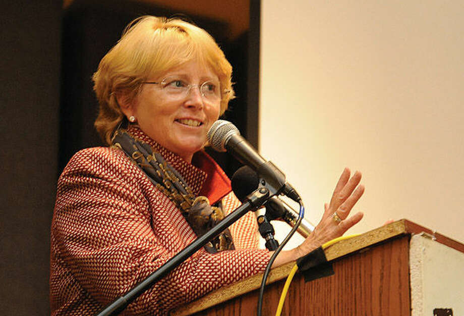 Lynne Vanderslice gives her victory speech Tuesday night at Trackside Teen Center in Wilton.