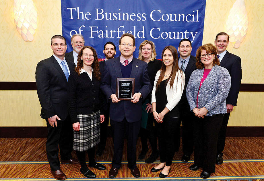 Hour photo / Erik Trautmann Norwalk Community College received a Business Council of Fairfield County Healthy Workplace Employer Recognition Award Friday morning at the Sheraton Stamford Hotel.