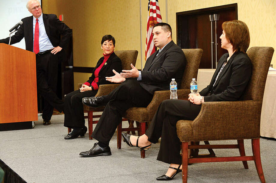 Hour photo / Erik Trautmann Norwalk Community College Director of Exercise Science and Wellness, Paul Gallo, was featured in a panel discussion, The Journey To Wellness during The Business Council of Fairfield County Healthy Workplace Employer Recognition Program on Fridayat the Sheraton Stamford Hotel.