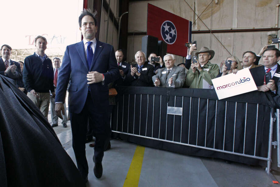 Republican presidential candidate, Sen. Marco Rubio, R-Fla. arrives to speak during a campaign stop, Monday, Feb. 29, 2016, in Knoxville, Tenn. (AP Photo/Wade Payne)