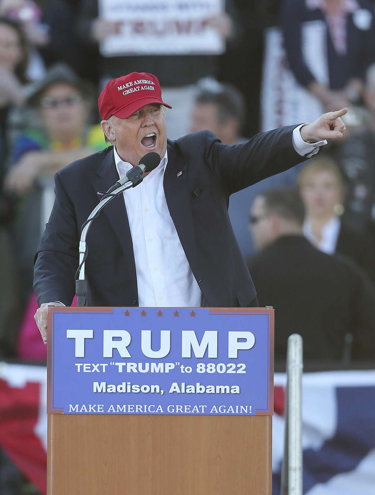 Republican presidential candidate Donald Trump speaks during a rally Sunday, Feb. 28, 2016, in Madison, Ala. (AP Photo/John Bazemore)