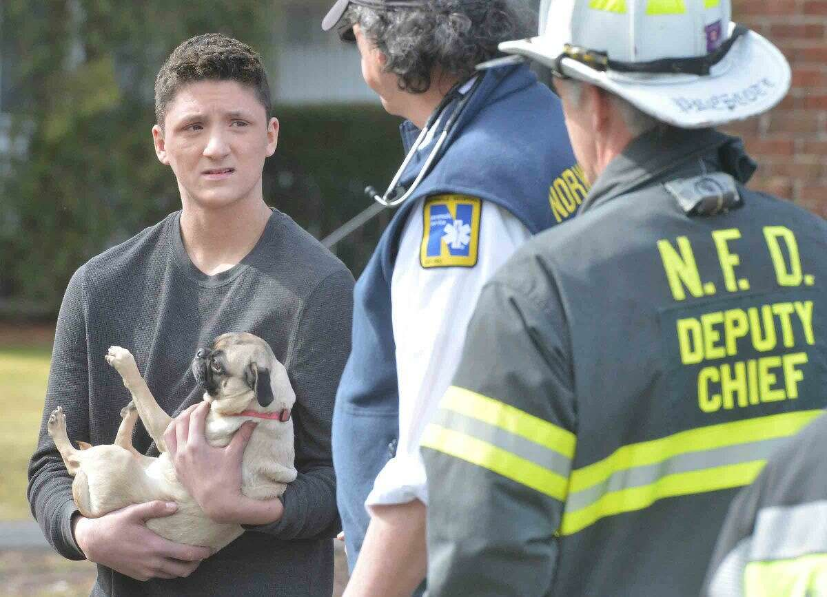 Hour Photo/Alex von Kleydorff A resident holds on to a dog as he talks with first responders about the condo fire at Nor-West complex on County Rd Wednesday morning
