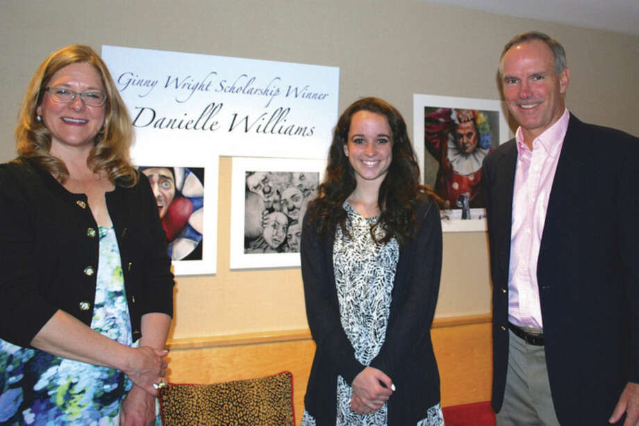 Contributed photoPictured from left: Amy Allen, Darien ArtsCenterexecutivedirector; Danielle Williams, winner of the 2015 Ginny Wright Scholarship; and Steve Wright.