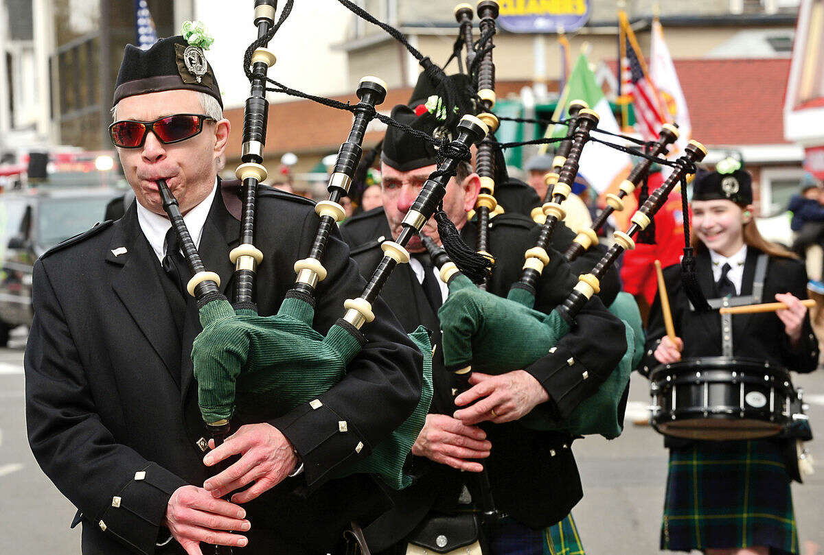 Hour photo / Erik Trautmann The Ancient Order of Hibernians Band plays during the 2016 Stamford St. Patrick's Day Parade Saturday.
