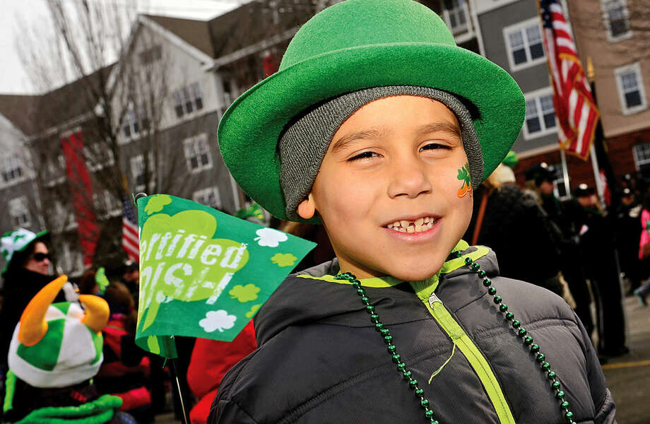 Hour photo / Erik Trautmann Hector Lopez attends the 2016 Stamford St. Patrick's Day Parade Saturday.