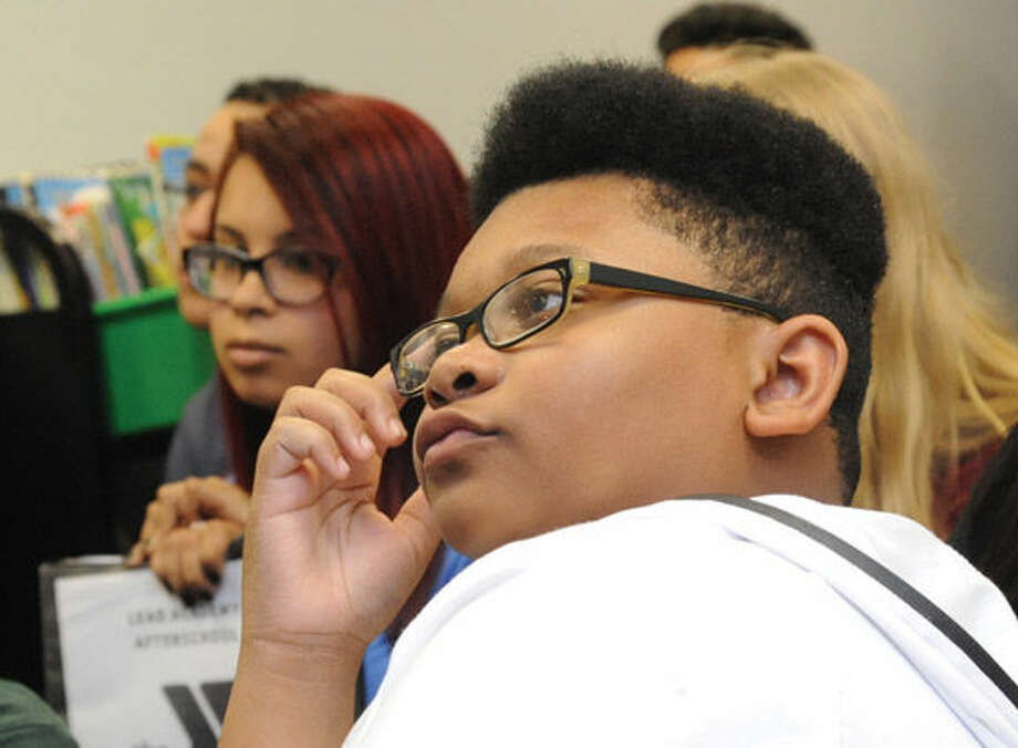Justice Greene, 13, on Monday at the Stamford YMCA, where police hosted a seminar that walked youths through a number of scenarios that could occur in encounters with officers.