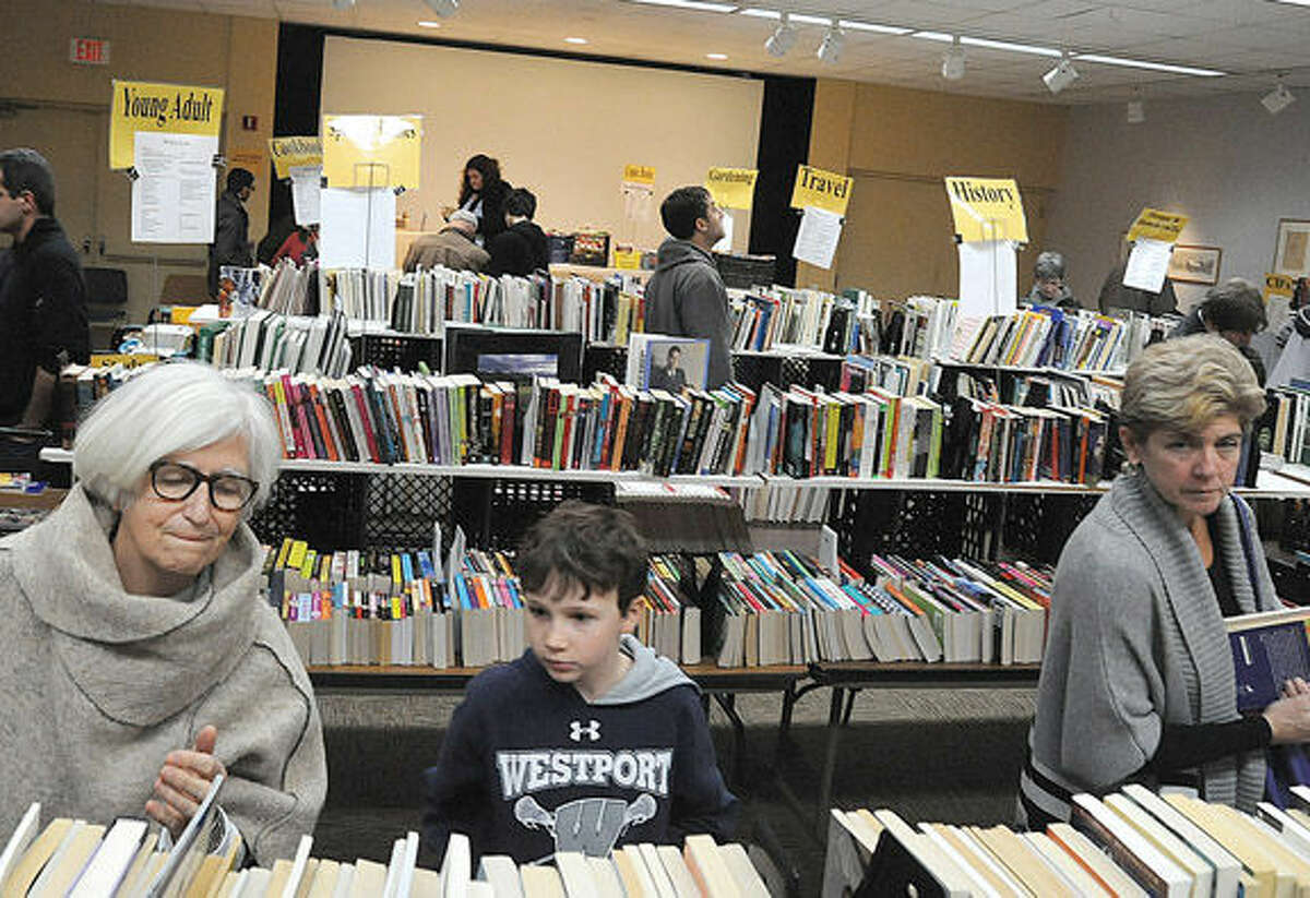 The Westport Library spring book sale goes on until Tuesday. Hour photo/Matthew Vinci