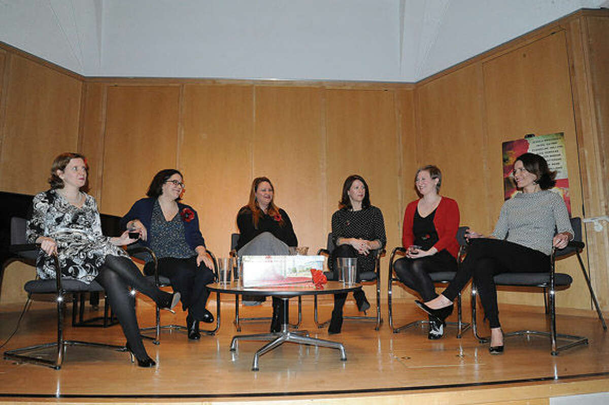 Authors Beatriz Williams, Lauren Willig, Heather Webb, Jennifer Robson, Jessica Brockmole and Hazel Gaynor attend a discussion held Tuesday at Wilton Library, where the authors discussed