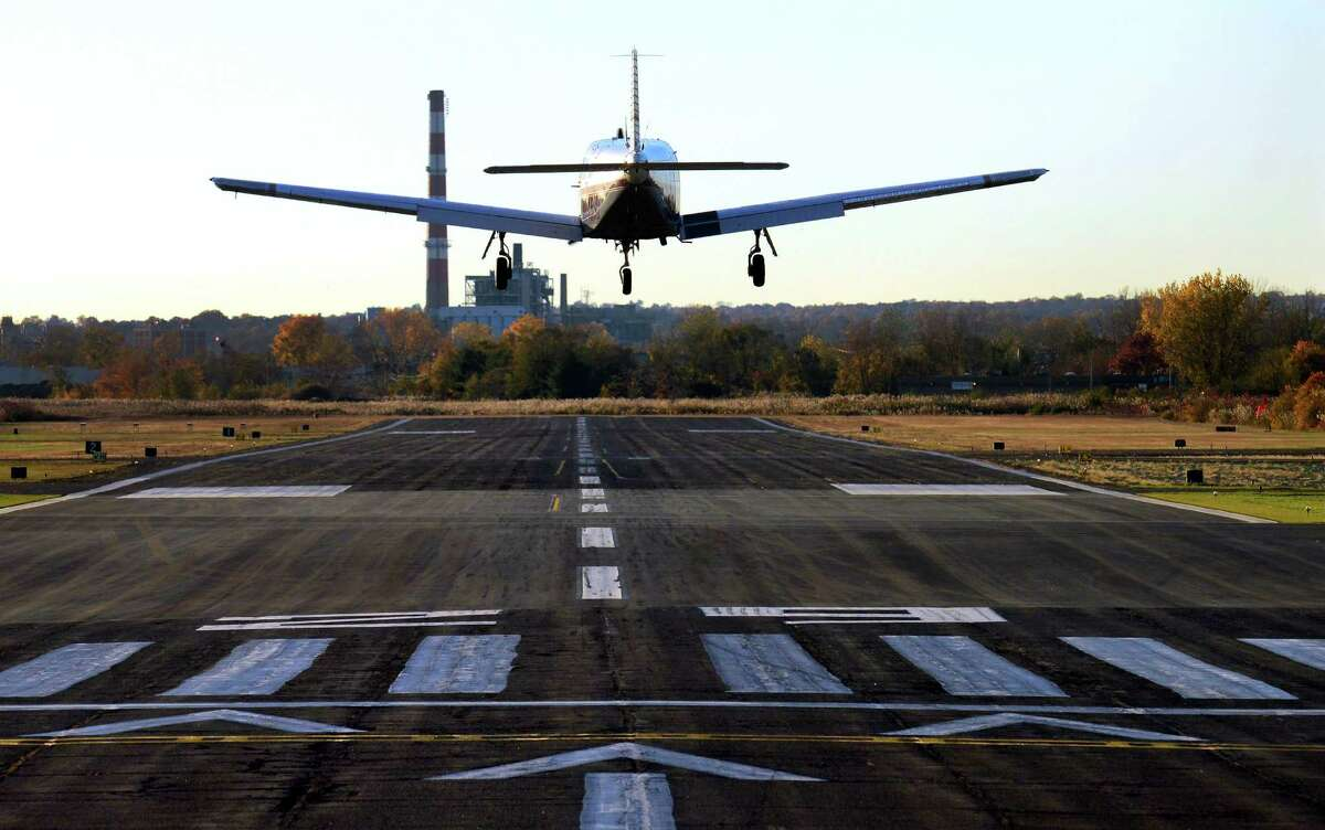 A plane comes in for a landing at Sikorsky Memorial Airport.