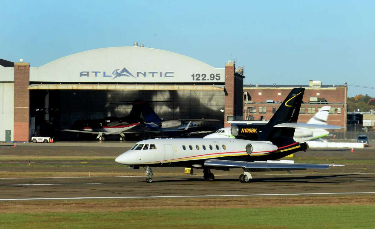 A jet comes in for a landing at Sikorsky Memorial Airport in Stratford.