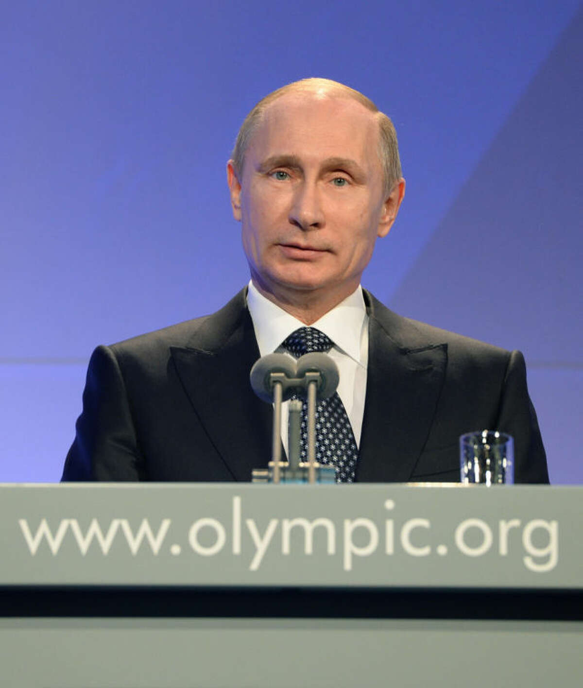 Russian President Vladimir Putin delivers his speech at the IOC President's Gala Dinner on the eve of the opening ceremony of the 2014 Winter Olympics, Thursday, Feb. 6, 2014, in Sochi, Russia. (AP Photo/Andrej Isakovic, Pool)