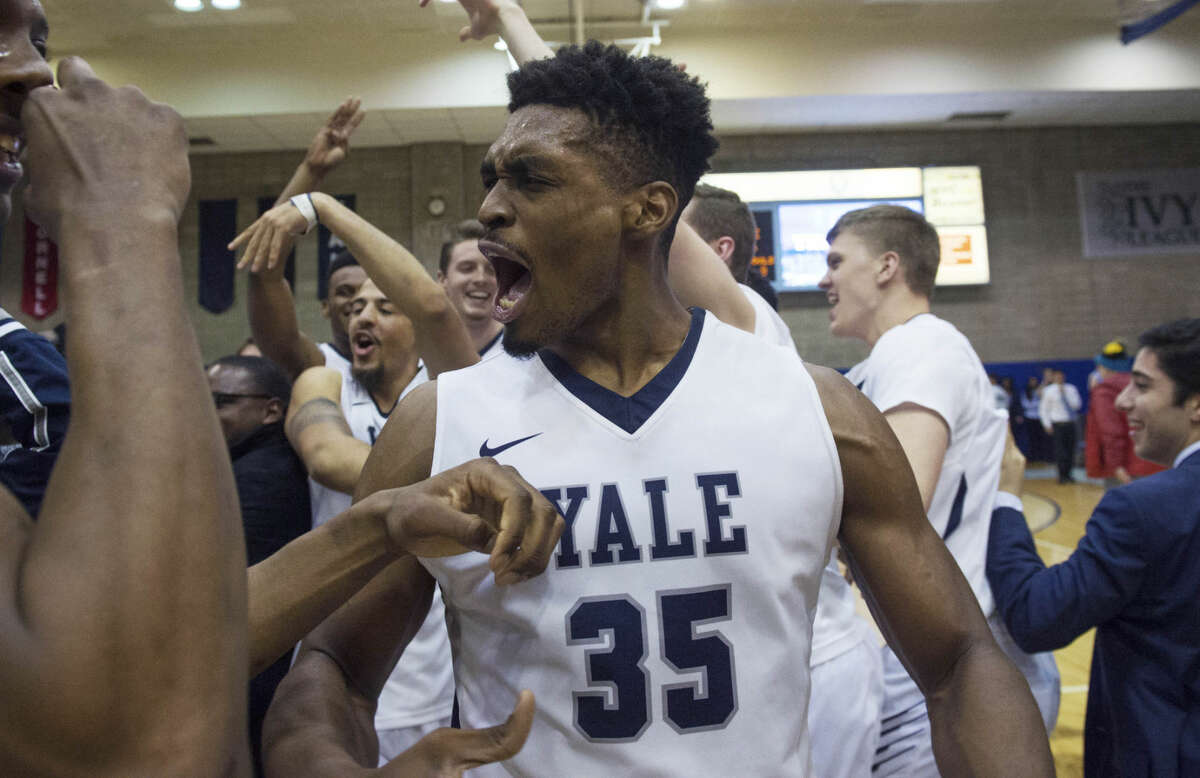 Yale forward Brandon Sherrod (35) celebrates the win at the end of the second half of an NCAA Ivy League Conference basketball game Saturday, March 5, 2016, in New York. Yale beat Columbia 71-55. (AP Photo/Bryan R. Smith)