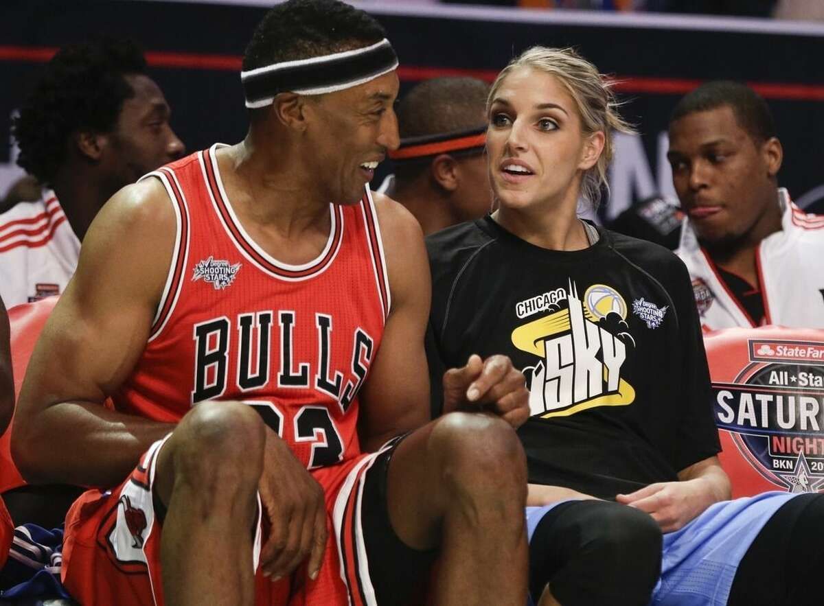 Elena Delle Donne, right, talks to Scottie Pippen during the NBA All-Star Saturday Shooting Stars event Saturday, Feb. 14, 2015, in New York. (AP Photo/Frank Franklin II)