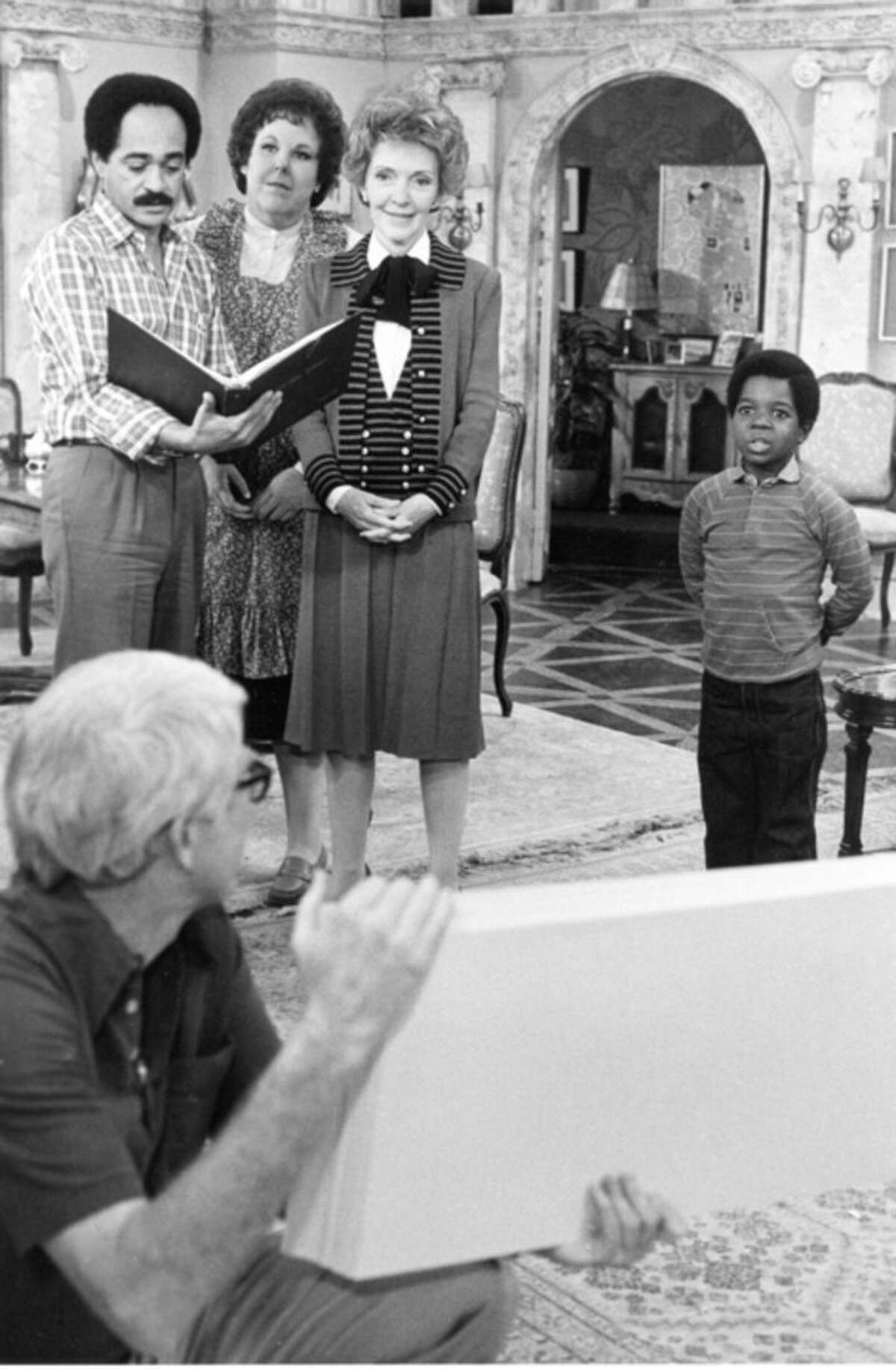 FILE - In this March 11, 1983 file photo, first lady Nancy Reagan goes over cue cards on the Los Angeles set of the television series