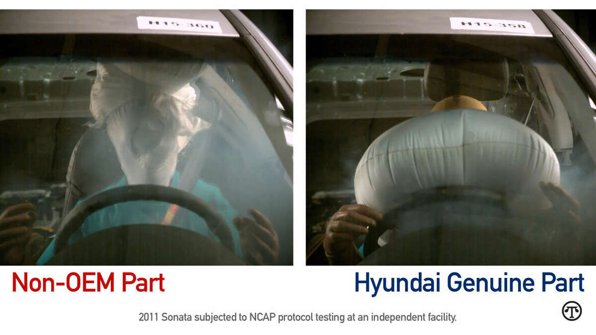 This test shows the difference between a non-OEM air bag and a Hyundai genuine air bag. (NAPS)