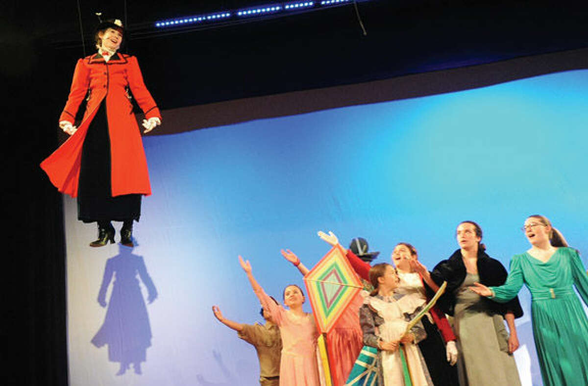 Hailey Smith as Mary Poppins in the Wilton Children's Theater's dress rehearsal at Middlebrook Middle School in Wilton.