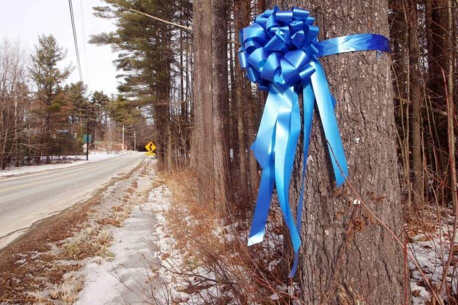 In this Tuesday Feb. 4, 2014 photo, a recently hung ribbon hangs on a tree where Maura Murray was last seen after crashing her car in Haverhill, N.H. Ten years ago, the Massachusetts college student drove off the road in the rural section of Haverhill in northern New Hampshire and hasn't been seen since. She left a tormented family, vexed investigators and a case rife with rumor and innuendo. (AP Photo/Jim Cole)