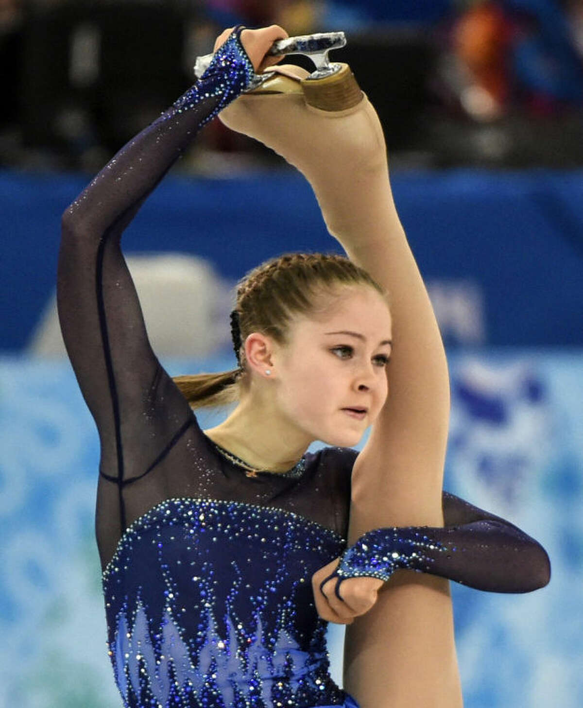 Yulia Lipnitskaya, of Russia, competes in the women's team short program figure skating competition at the Iceberg Skating Palace during the 2014 Winter Olympics, Saturday, Feb. 8, 2014, in Sochi, Russia. (AP Photo/The Canadian Press, Paul Chiasson)