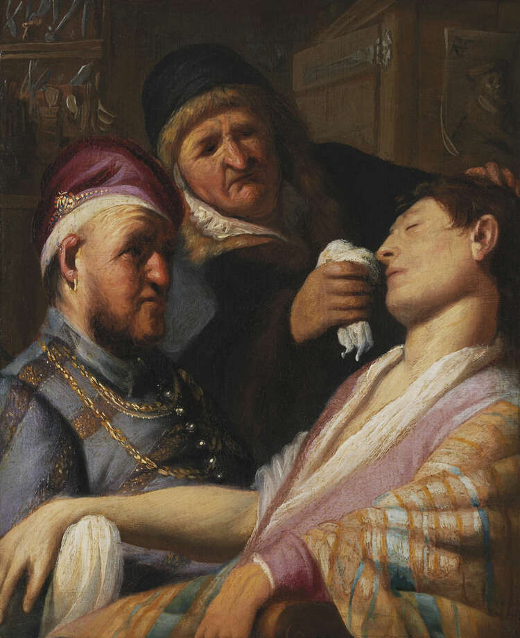In this image released on Thursday March 10, 2016, by Galerie Talabardon & Gautier, the newly discovered painting by Dutch master Rembrandt titled The Unconscious Patient (Sense of Smell) dated at around 1624-25, oil on panel 21.6x17.8 cm, is seen. (Galerie Talabardon & Gautier via AP)