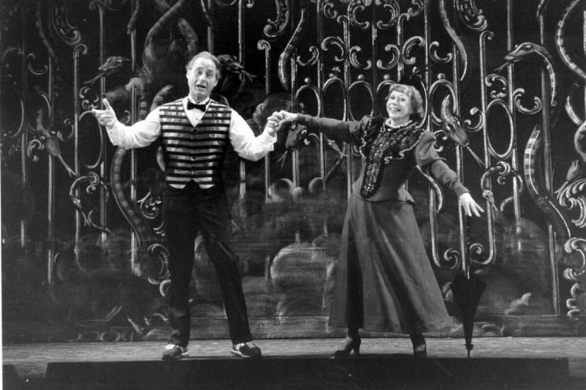 FILE - This June 11, 1982 file photo shows Sid Caesar, left, and Imogene Coca practicing their soft shoe routine during a dress rehearsal in Boston for the Boston Opera Company's production