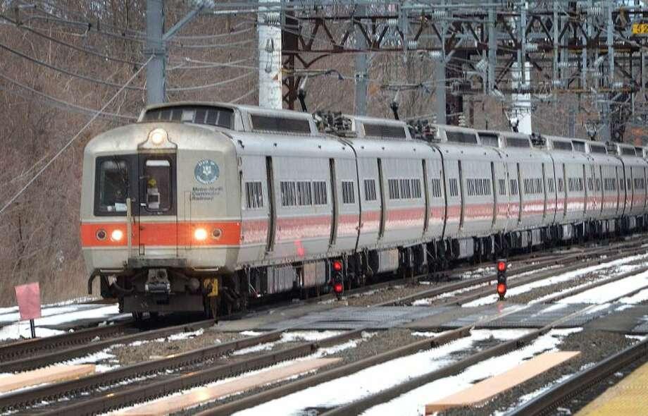 Hour Photo/Alex von Kleydorff A Metro North train pulls into the southbound side of South Norwalk train Station