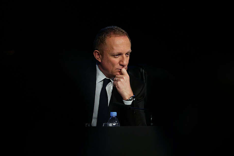 Francois-Henri Pinault, CEO of luxury group Kering paused during a press conference, in Paris, Tuesday, Feb. 17, 2015. Gucci owner Kering on Tuesday said the weak euro and strong dollar was likely to boost revenue this year but could hit margins in the first half due to its hedging policies. (AP Photo/Thibault Camus)