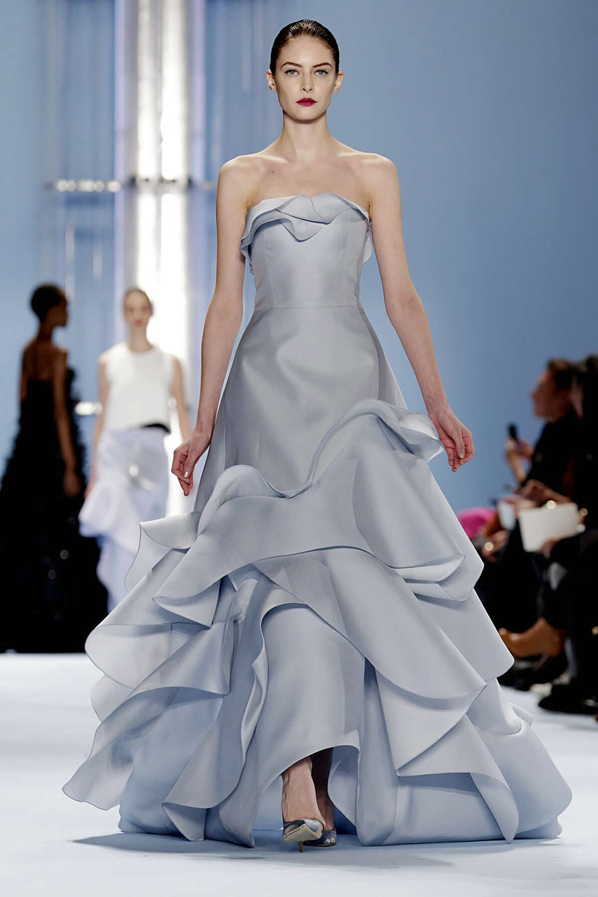 The Carolina Herrera Fall 2015 collection is modeled during Fashion Week in New York, Monday, Feb. 16, 2015. (AP Photo/Richard Drew)