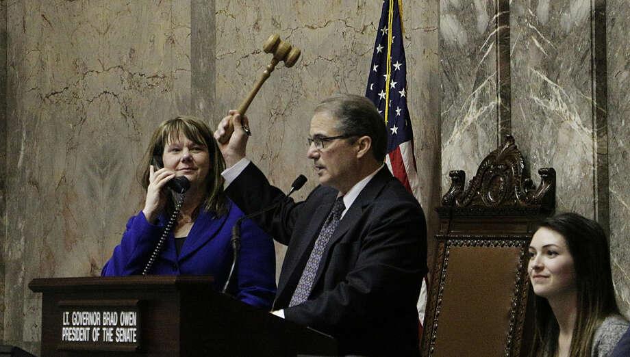 "Lt. Gov. Brad Owen raises his gavel as he declares ""Sine Die"" Thursday, March 10, 2016, to end the regular session of the Washington Legislature, at the Capitol in Olympia, Wash. (AP Photo/Rachel La Corte)"