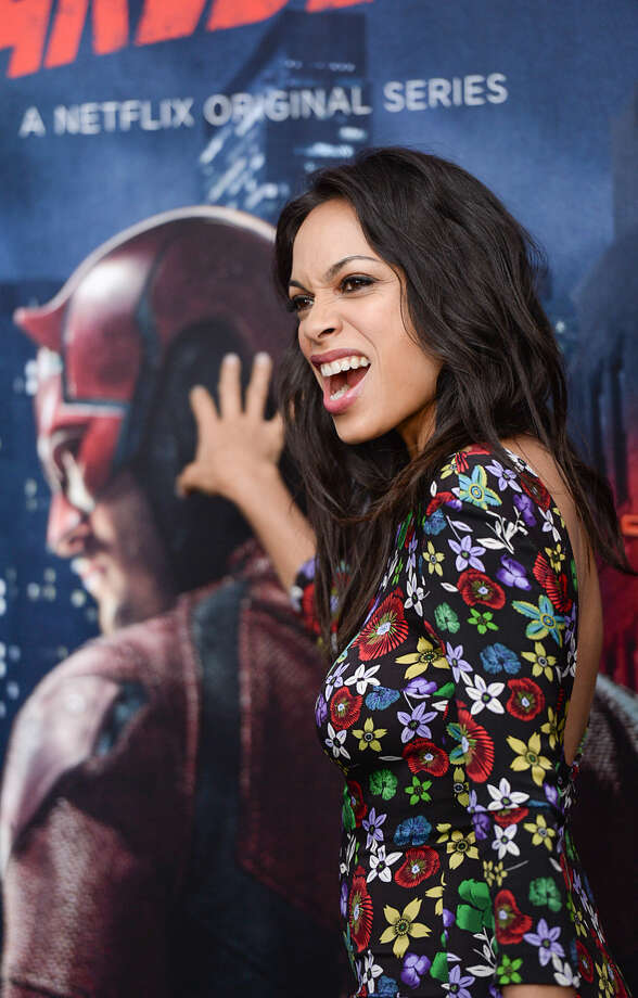 """Actress Rosario Dawson attends the premiere of Netflix's Original Series Marvel's """"Daredevil"""" Season 2 at AMC Lincoln Square on Thursday, March 10, 2016, in New York. (Photo by Evan Agostini/Invision/AP)"""
