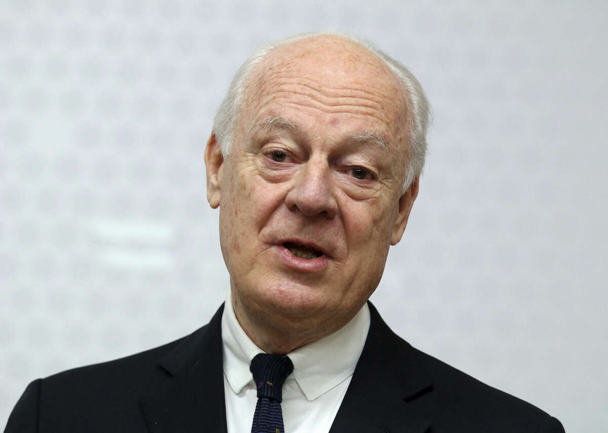 FILE - In this Feb. 13, 2015, file photo, UN Special Envoy for Syria Staffan de Mistura informs the media after talks with Austrian Foreign Minister Sebastian Kurz at the foreign ministry in Vienna, Austria. The United Nations envoy to Syria said Tuesday, Feb. 17, he has received a commitment from the Syrian government to suspend airstrikes and artillery shelling on the city of Aleppo for six weeks to allow a proposed U.N. plan to
