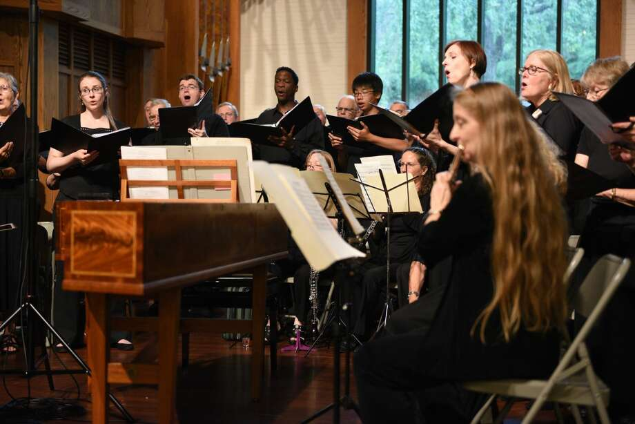 """The Music on the Hill Summer Chorus performing music of J.S. Bach at Wilton's St. Matthew's Episcopal Church in July 2015. Following this concert, Music on the Hill received the harpsichord that will be showcased in the upcoming April 1st concert, """"Friday Evening Baroque."""""""