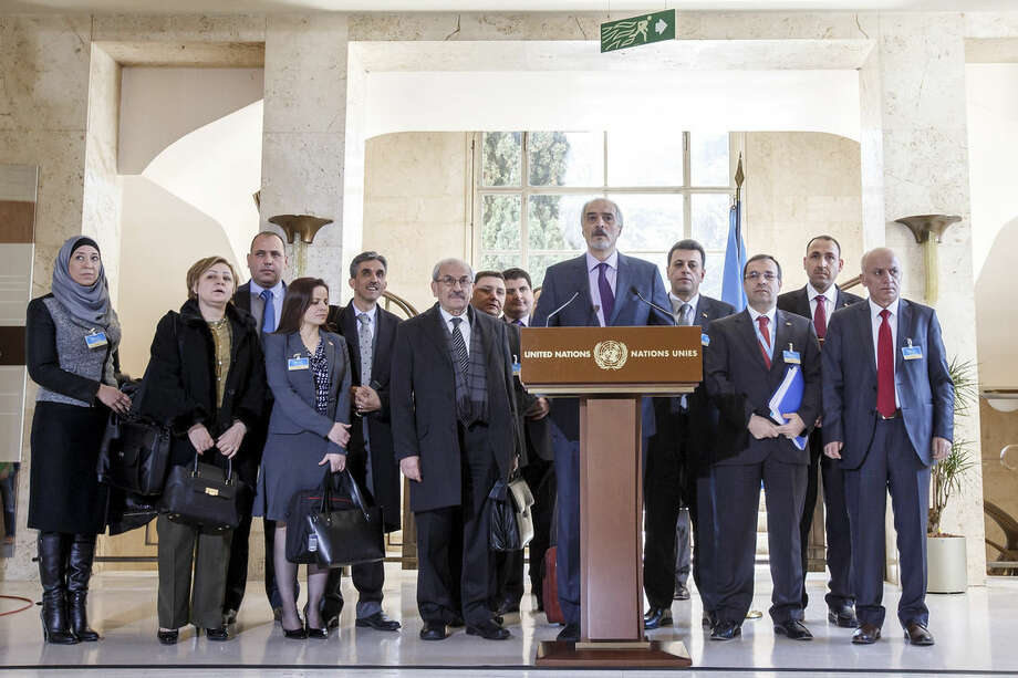 Syrian chief negotiator Bashar al-Jaafari, Ambassador of the Permanent Representative Mission of the Syria to UN New York, briefs the media after a round of negotiations between the Syrian government and UN Special Envoy of the Secretary-General for Syria Staffan de Mistura at the European headquarters of the United Nations in Geneva, Switzerland, Monday, March 14, 2016. (Salvatore Di Nolfi/Pool Photo via AP))