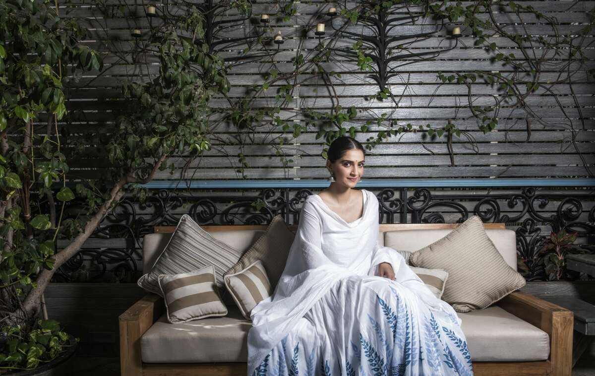 Bollywood actor Sonam Kapoor at her house