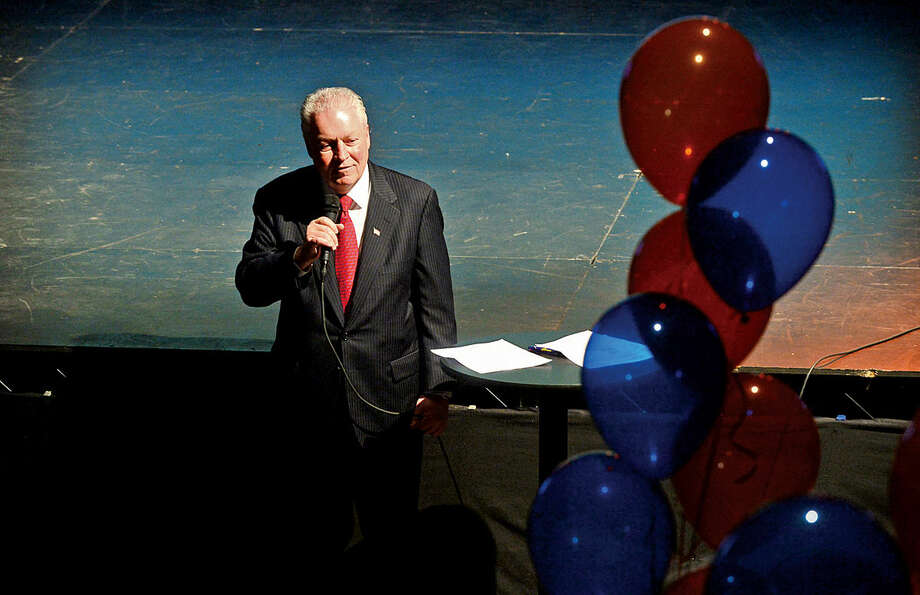Hour photo / Erik Trautmann Fairfield mayor Mike Tetreau addresses the crowd during the launch party for Giving Day, a 24-hour fundraising event for Fairfield County nonprofits at The Warehouse at Fairfield Theatre Company Thursday morning.