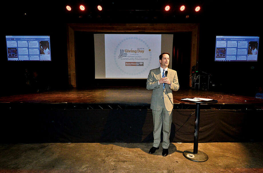 Hour photo / Erik Trautmann US Congressman Jim Himes speaks during the launch party for Giving Day, a 24-hour fundraising event for Fairfield County nonprofits at The Warehouse at Fairfield Theatre Company Thursday morning.