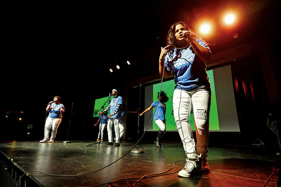 """Hour photo / Erik Trautmann Leandra Brooks and Creative Youth Productions perform """"The Vibe"""" during the launch party for Giving Day, a 24-hour fundraising event for Fairfield County nonprofits at The Warehouse at Fairfield Theatre Company Thursday morning."""