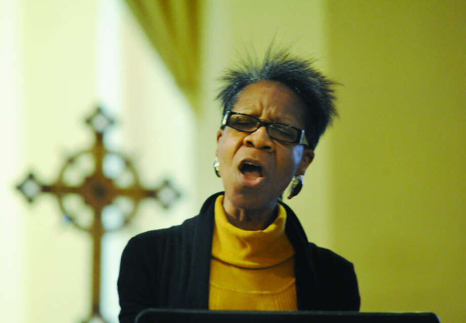 St. Andrew's Episcopal Church, in Stamford, welcomed renowned soul singer and recording artist Maydie Myles as its guest soloist at Mass Sunday. Ms. Myles performed JOSHUA FIT THE BATTLE OF JERICO; STEAL AWAY. Hour photo/Matthew Vinci
